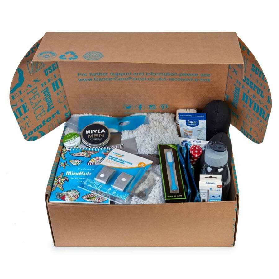 Looking Inside The Deluxe Cancer Care Hamper For Men