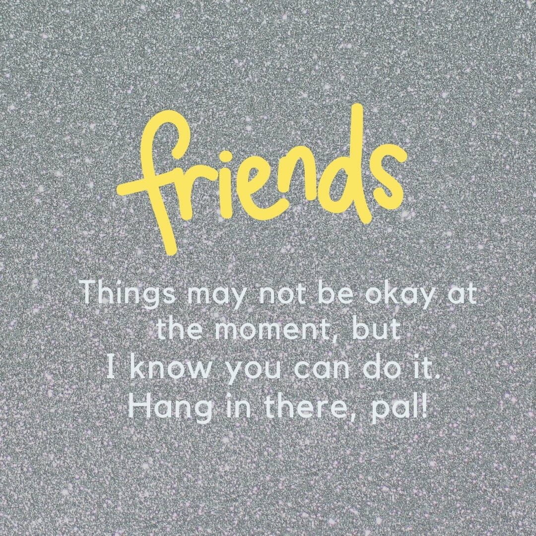 Friends: Things May Not Be Ok At The Moment, But I Know You Can Do It. Hang In There Pal1!
