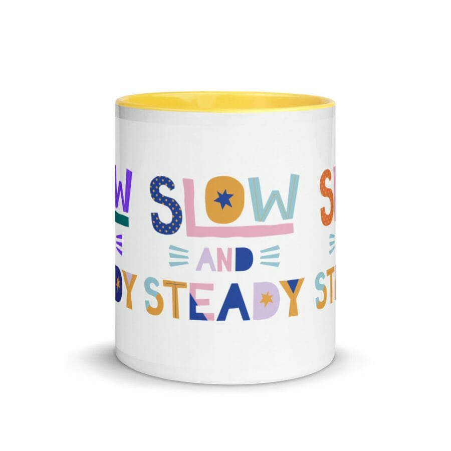 White Ceramic Mug With Color Inside Yellow 11Oz Front 61656Abe1D048