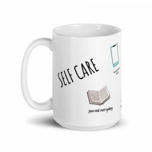 Self-Care Tips On A Glossy White Mug
